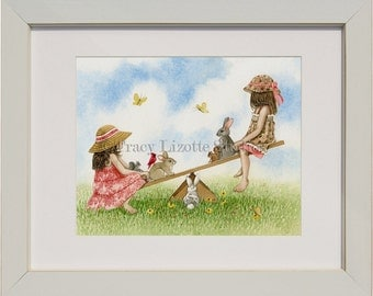 Playtime Seesaw - archival watercolor print by Tracy Lizotte