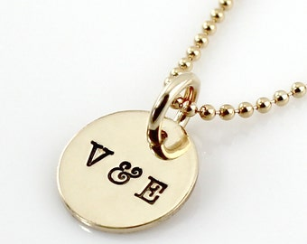 Initials Necklace - Personalized You & Me Gold Filled Initials hand stamped necklace