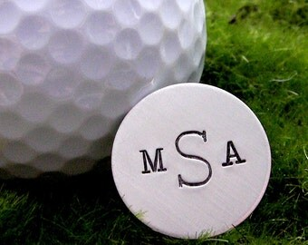 Pocket Token - Golf Ball Marker - Personalized hand stamped sterling silver golf ball marker