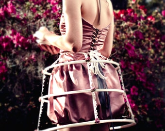 Lamballe, Marie Antoinette Inspired Cage Skirt, Avant Garde,with  Lace and Mauve Roses