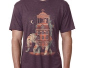 Elephant, India, Mens Shirt, Dapper, Mustache, Purple, Moon, Available S M L XL XXL