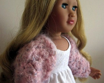 18in doll clothes, fluffy pink bolero cardigan, hand-crochet sweater