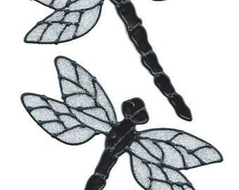 Dragonfly Window Cling Set - Black Glitter