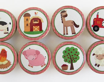 Farm Knobs, Farm Animal Knobs, Cow Knobs, Pig Knobs,  Animal Drawer Knobs, Wood Knobs- 1 1/2 Inches -Made-to-Order