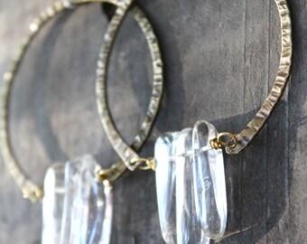 Big Hoop Earrings Raw Crystal Earrings Hammered Brass Hoops