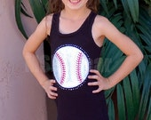 Chevron  Baseball Tank  Dress With Minky and Fabric Ruffle