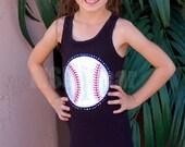 Chevron  Baseball Tank  Dress With Minky and Fabric Ruffle