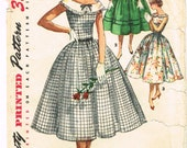 Original 1950's Dress Pattern with Rounded Neckline and Ribbon Size 12 Simplicity 1620