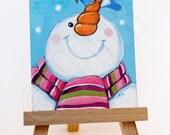 Original acrylic ACEO - Christmas Snowman and Bluebird - Xmas ART