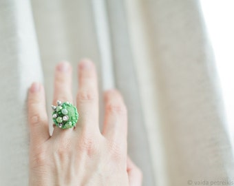 Gift for her under 50 USD Statement ring ON SALE modern with felt Unusual urban style felt pearl ring Fresh woodland green ring All sizes