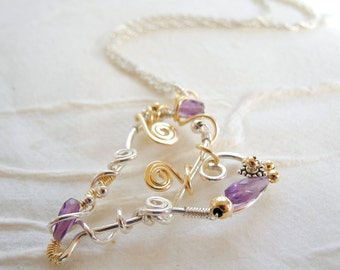 Sterling Silver Heart Necklace Amethyst February Birthstone Mixed Metal Jewelry Gift For Her Valentines Day