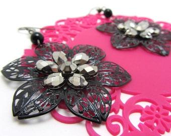 Black with Silver Flower Filigree Earrings