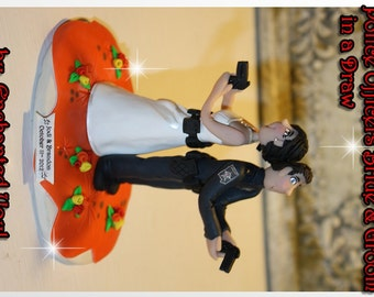 Dueling Police officer Bride & Groom Personalized Wedding Cake Topper