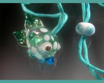 BirdDesigns Lampwork Fish Necklace on Adjustable Silk Cord- ooak - J564
