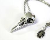 Raven Skull Necklace Solid Sterling Silver Raven Skull Necklace 053