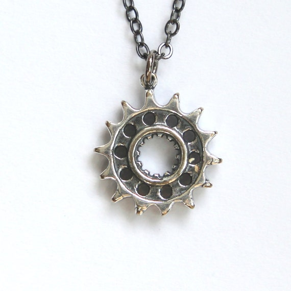 silver motorcycle drive gear necklace motorcycle gear pendant