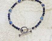 Blue Lapis Lazuli and Silver Bracelet - Plus Size