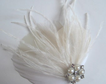 Ivory feather fascinator with rhinestones and pearls - QUINCY no.22