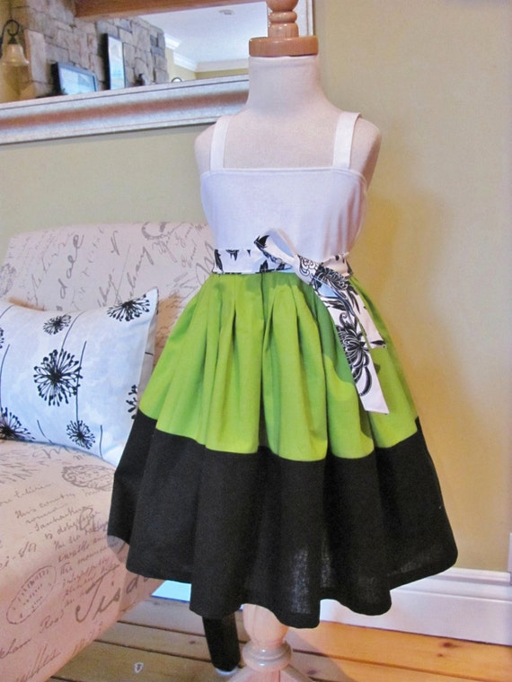 SALE - AUDREY - Girls Dress -  LIME -  Ready to Ship - Size 4T