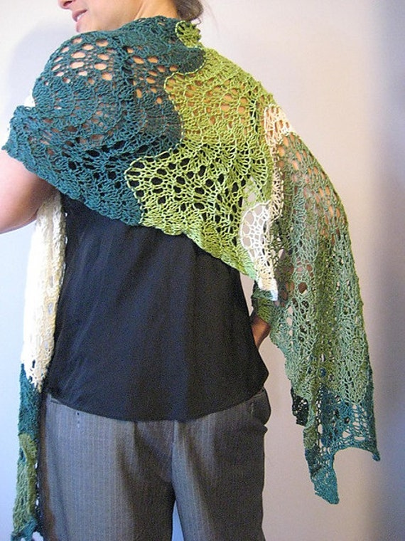 spring greens wrap in merino and bamboo