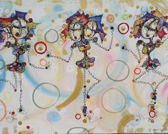Dancing Gals - 24x48 Modern Abstract Canvas Painting by Kim Dean - StickPeople