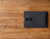 iPad Mini Sleeve - Charcoal Felt and Black Leather