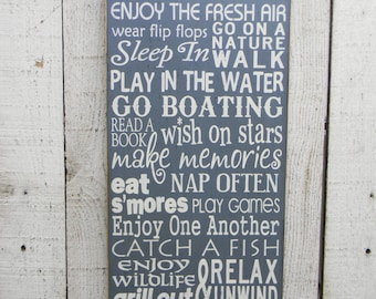 Lake Rules typography word art wood sign