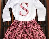 Dandy Damask - monogrammed top and skirt girls set - sizes 12 monhths, 18 months, 24 months, 2T, 3T, 4T, 5t, 6t