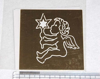 Brass embossing stencil - angel with a starr