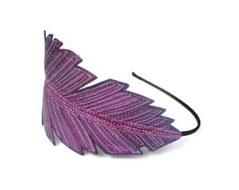 Feather Headband- Eggplant Purple with Dark Plum, Red-Violet, and Lilac Embroidery
