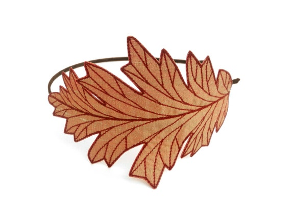 Oak Leaf Headband- Shimmery Yellow-Orange with Dark Flame Orange Embroidery
