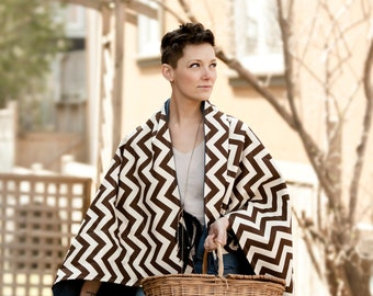 Picnic Blanket- Brown and White Chevron Blanket- Geometric- Portable Outdoors Blanket- Wedding Gift Idea