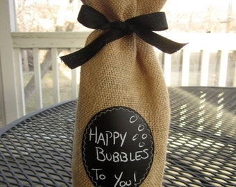 Set of 4 Champagne Bottle Bags - Burlap with Re-Useable Chalkboard Labels