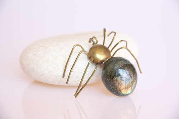 Labradorite Gemstone Spider, Jewelry prop, vintage home decor