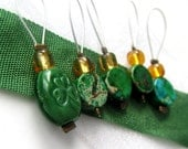 Luck of the Irish  - Five Handmade Stitch Markers - 5.5 mm (8 US) - Limited Edition