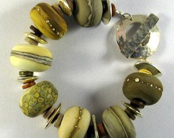 Fossil Lampwork Glass Bead Bracelet SRA