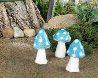 Garden Mushrooms ceramic Toadstool  miniatures 3  .. ..  terrarium or miniature gardens - Turquoise Blue