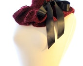 Ruffle Neck Warmer in Burgundy by Mademoiselle Mermaid