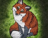 Natural Red Fox Vulpes vulpes Iron on Patch