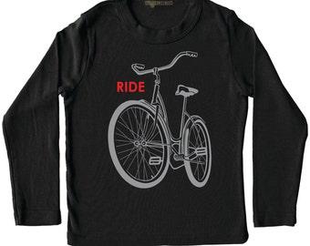 Children's bike t-shirt, black bike shirt, Kids bike t-shirt, Ride a bike graphic tee, bicycle bike gift, boy girl clothes, hipster clothes