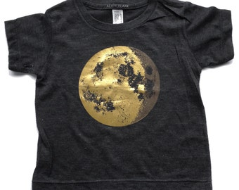 Kids Gold Moon Shirt, full moon t-shirt, Moon Print, Space Shirt, Childrens Clothing, Moon Phase Shirt, Crescent Moon Shirt, Astronomy shirt