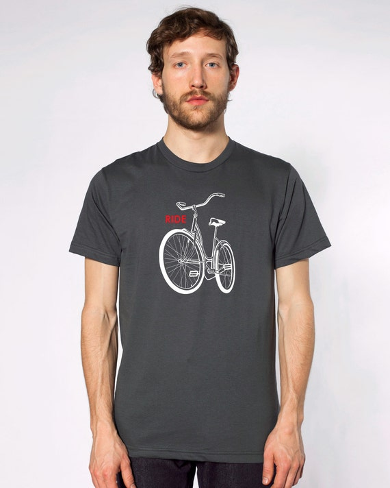 Ride a Bike t-Shirt retro old school schwinn cycling Men's Asphalt grey shirt awesome bicycle tee great gift for cycle enthusiasts Portland.