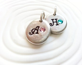 Birthstone Initial Charm- Hand Stamped, Personalized Necklace Charm for Mother's Necklace
