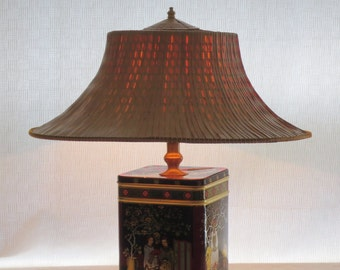 Fortune Cookie II tin table lamp with straw hat shade  - Enter coupon code PrintTinTin for 10% off!