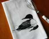 Flour Sack Dish Towel, Loon Tea Towel, Screen Printed Common Loon Bird