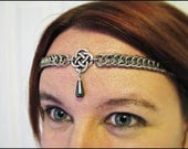 The Natural Hematite Grey Celtic chainmail headband/choker chain maille knot crown tiara