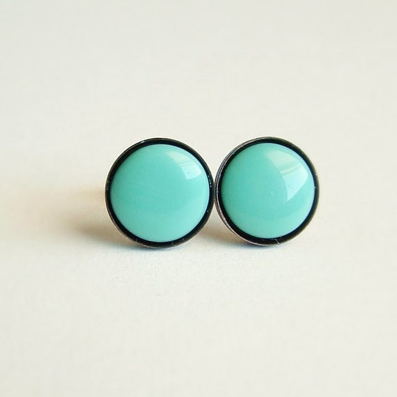 Small Turquoise Glass Post Earrings Vintage Glass Cabochon Stones Hypoallergenic