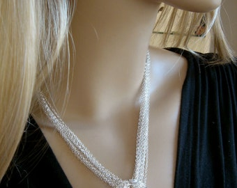 Circle of life multichain necklace, swarovski cosmic ring sterling silver multichain necklace