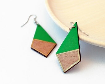 Geometric wooden earrings - lime green, natural wood and gold - minimalist, modern jewelry