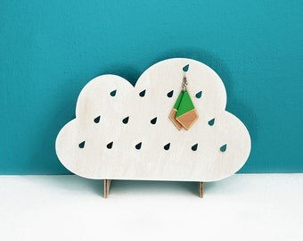 Wooden jewelry organizer, stand, display, holder / unique, minimalist, modern cloud shape / for earrings
